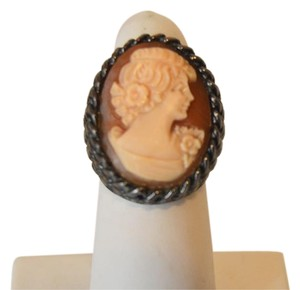 AMEDEO AMEDEO 25mm Basketweave Cameo Hematite-tone Ring Size 8