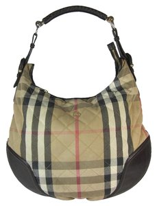 Burberry Brown Leather Nova Check Hobo Shoulder Bag