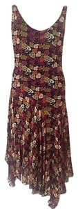 Jones New York Asymmetrical Sheath 100% Silk Floral Flowing Dress