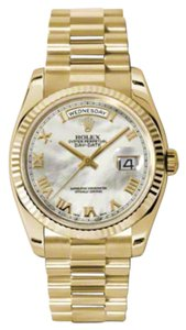 Rolex Rolex New Style Pre Owned Day-Date President Yellow Gold Custom Mother of Pearl Dial 36mm.