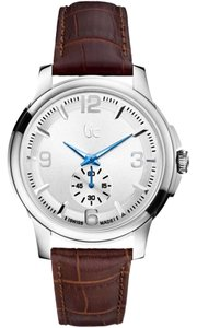 Guess Guess Collection Men's Brown Leather Silver Tone Stainless Steel Blue Hand Watch X82005G1S