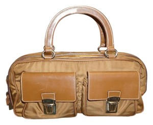 Prada Front Flap Nylon Summer Carry Out Date Satchel in Tan / Light Brown / Brown / Multi