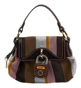 fendi Canvas Lock Baguette