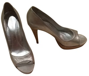 Sergio Rossi Silver Payton With Bamboo Pumps