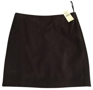 Banana Republic Mini Genuine Suede Leather Chocolate Mini Skirt Brown