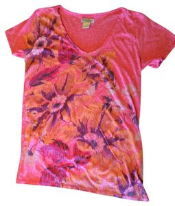 Lucky Brand Graphic V-neck T Shirt coral