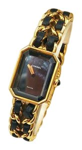 Chanel Vintage Chanel 18K Gold Plated Leather Braid Watch
