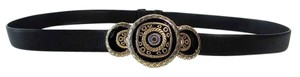 Chico's Textured Adjustable Leather Belt Silver Gold Design