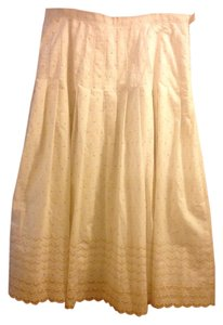 David Brooks Long Eyelet Lace Embroidered Skirt Cream