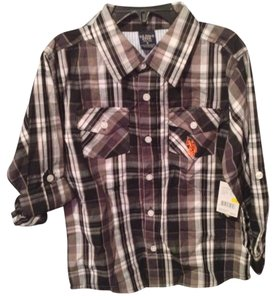 U.S. Polo Assn. Flannel Boys Black/white Button Down Shirt