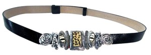 Chico's Textured Adjustable Leather Belt Animal Print Clasp