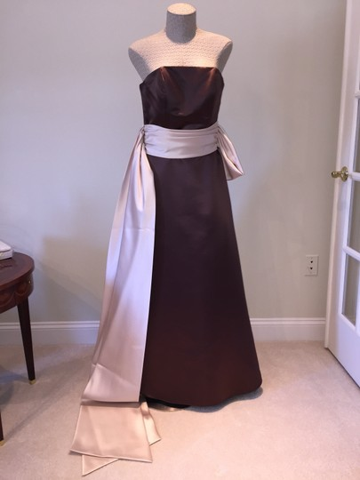 Preload https://item5.tradesy.com/images/bill-levkoff-brown-and-cream-polyester-formal-bridesmaidmob-dress-size-6-s-1762159-0-0.jpg?width=440&height=440