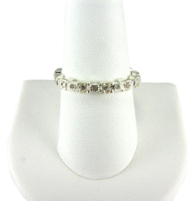 Item - Silver Plated Textured Band with Cz's Size 9 Ring