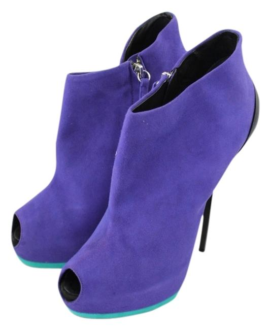 Item - Royal Purple Suede W/ Turquoise & Black Patent Sharon 105 Camoscio In Paulia - E37012 Boots/Booties Size US 11 Regular (M, B)