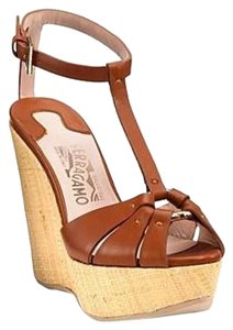 Salvatore Ferragamo Wedge Vintage Leather Cognac Wedges