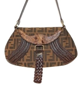 Fendi Jacquard Leather Woven Gold Linen Shoulder Bag