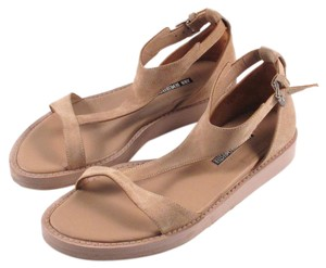 Ann Demeulemeester Suede Leather T-strap Flats Tan Sandals