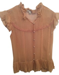 Banana Republic Sheer Chiffon Top Dusty Pink