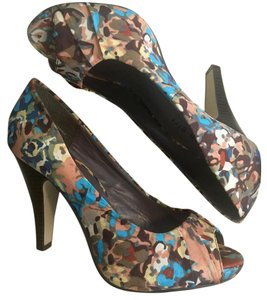 Madden Girl Peep Toe Multi-colored Multicolor Watercolor Pumps