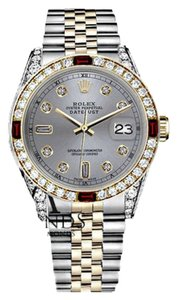 Rolex Rolex 36mm Datejust 2Tone Slate Grey Dial Ruby with 8+2 Diamond Accent Bezel