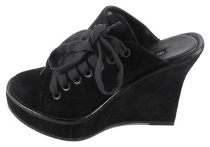 Ann Demeulemeester Suede Leather Heels Sneakers Black Wedges