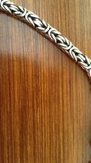 Other Sterling Silver Braided Box Chain with engraved design on lobster claw closure. Image 2