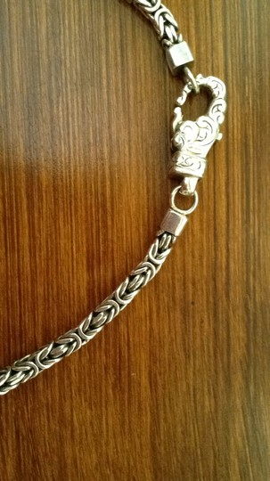 Other Sterling Silver Braided Box Chain with engraved design on lobster claw closure. Image 3