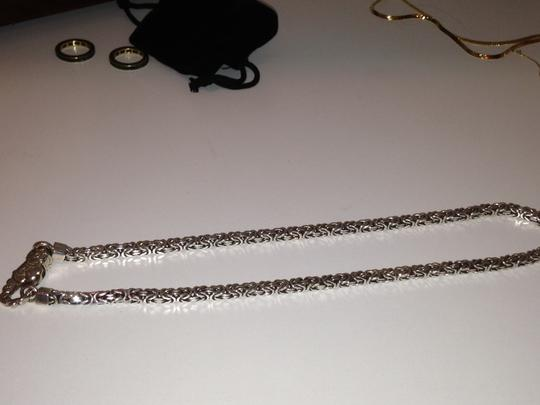 Other Sterling Silver Braided Box Chain with engraved design on lobster claw closure. Image 5