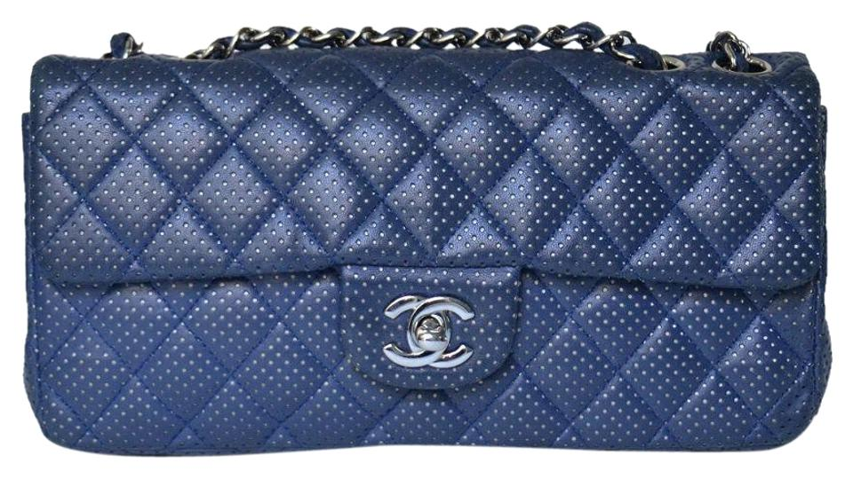 5347fa8a9591 Chanel East West Perforated Flap Navy Lambskin Shoulder Bag - Tradesy