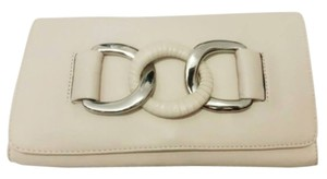 Michael Kors Leather Vintage Beige White Clutch