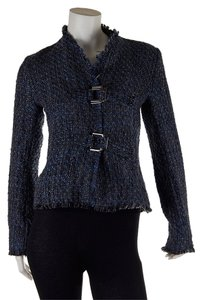 Firuze Women's Wool Boucle Jacket Black & Blue Blazer