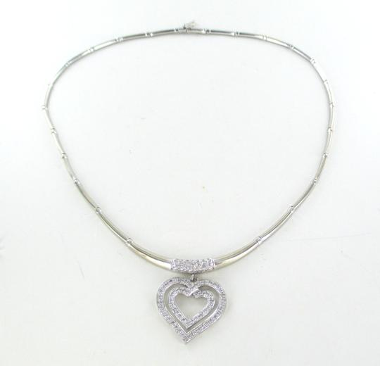 Other 14K SOLID WHITE GOLD 92 DIAMONDS 1.50 CARAT HEART NECKLACE VALENTINES LOVE JEWEL