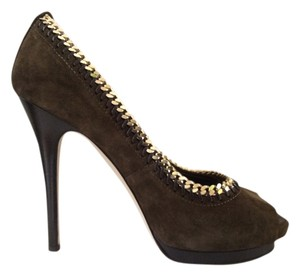 Giuseppe Zanotti ON SALE! - Sz. 41 (US 10) Military Green Suede Peep Toe w/ Chain Detail Pumps