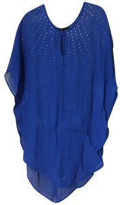BCBGMAXAZRIA Blue Sheer Coverup with Gold Accents