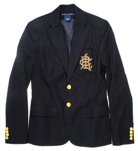 Ralph Lauren Logo Patch Crest Gold Navy Blazer
