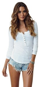 Free People Shell Lace Henley T Shirt white