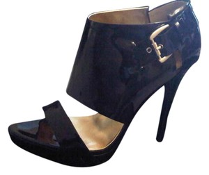 REPORT Black Patent Leather Sandals