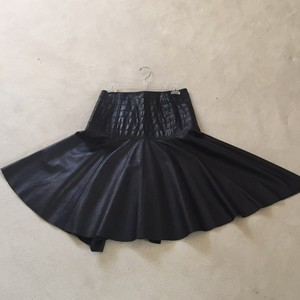 DKNY Skirt Genuine Black leather