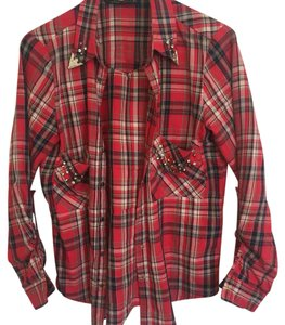 Zara Button Down Shirt Red and Black Flannel