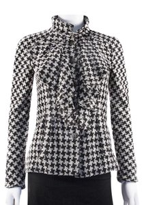 Chanel Houndstooth White Tweed Black Jacket