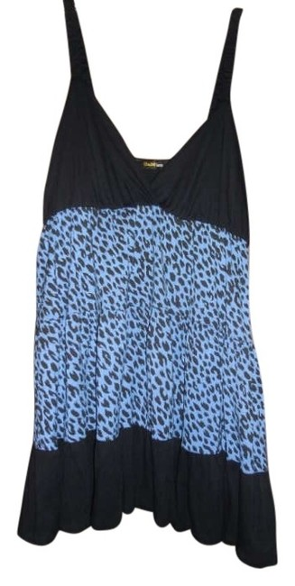 Double Zero Top blue and black leopard