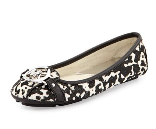 Michael by Michael Kors Leather Black/White Flats