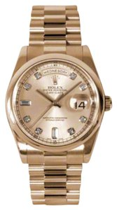 Rolex Rolex New Style Pre Owned Day-Date President Rose Gold Custom Pink Champagne Diamond Dial 36mm.