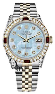 Rolex Women's Rolex 31mm Datejust 2Tone Baby Blue MOP Dial with Ruby & Diamond Bezel