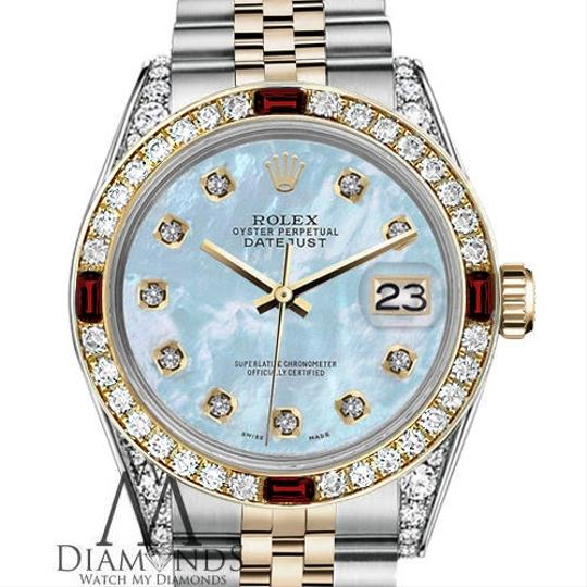 Rolex Women's Rolex 31mm Datejust 2Tone Baby Blue MOP Dial with Ruby & Dia Image 1