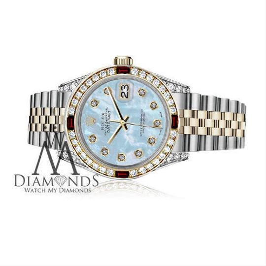 Rolex Women's Rolex 31mm Datejust 2Tone Baby Blue MOP Dial with Ruby & Dia Image 2