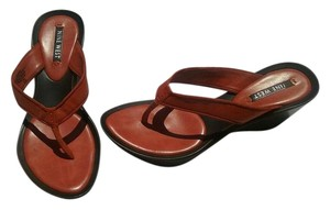 Nine West Genuine Leather Orange Sandals