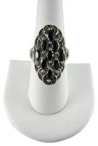 CITY BY CITY CITY BY CITY MARCASITE AND JET BLACK CUBIC ZIRCONIA RING SIZE 8