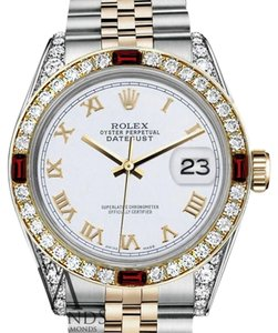 Rolex Ladies Rolex 26mm Datejust 2Tone White Roman Numeral Dial RubyDiamonds