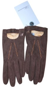 Blumarine NEW BLUMARINE ITALY BROWN SEUDE LEATHER CASHMERE BLEND GLOVES